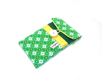 phone case green and white geometric fabric iphone sleeve padded fabric