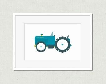 Nursery decor, modern nursery art, kids room art, nursery art, tractor print, nursery decor, blue tractor, tractor, tractor art, blue art