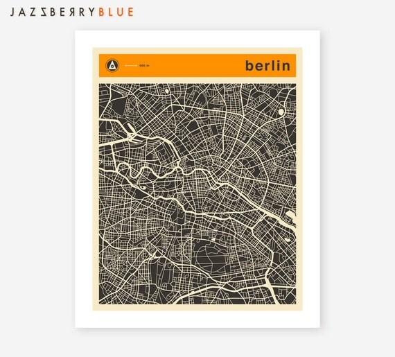 BERLIN MAP, Giclée Fine Art Print, Minimal Wall Art for the Home Decor