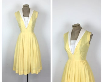60s White and Yellow Sailor Dress • 1960s Nautical Fit and Flare Cotton Day Dress • 50s Sleeveless Summer Sun Dress • Medium • Small