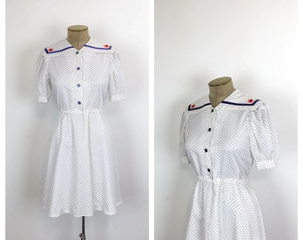 Vintage Polkadot Sailor Dress •  Nautical Fit and Flare Cotton Dress • Red White and Blue Mini Dress • Puff Sleeve Summer Day Dress • Medium