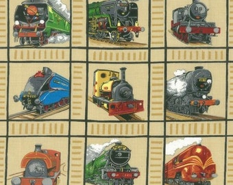 Loco Motion Railway Train Panels Quilting Fabric 50 Panels Each 8cm Square