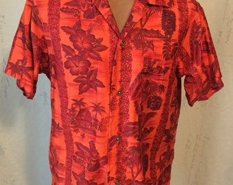 Vintage bright orange Hawaiian cotton sateen shirt.