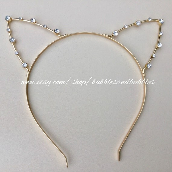 Silver Or Gold Crystal Cat Ears Headband Tiara For Party Or Cosplay -  FAST SHIPPING!