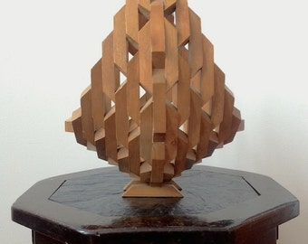Vintage geometric wood block basket, Very intricate!