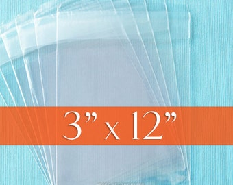 100 Size 3x12 Inch Resealable Cello Bags, Clear Packaging