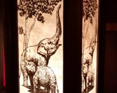 wooden lamp with mulberry paper in elephant drawing artwork bedside lamp home decoration asia style