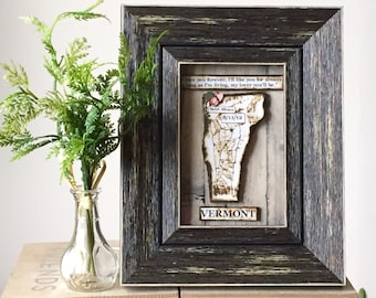 State Map Map and Heart - Anniversary Present  - Framed Map Art - Vermont Map