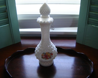 Vintage Avon Hobnail milkglass perfume bottle with stopper vase collectible home decor wedding table decor retro chic cottage chic
