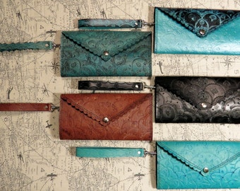 SALE Hand Tooled Long Leather Wristlet Wallet Clutch