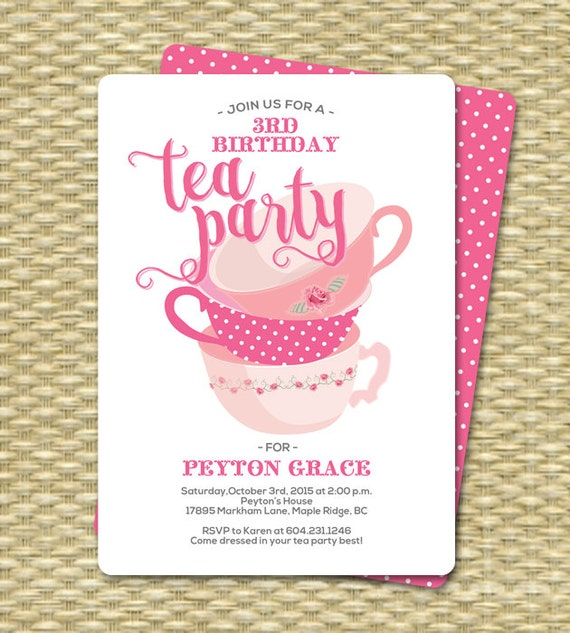 Birthday Tea Party Invitations Birthday Tea Party Invitation – Tea Birthday Party Invitations