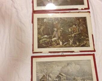 3 very old currier & Ives framed prints