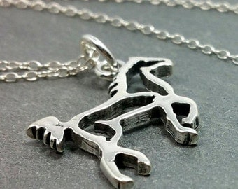 Horse Necklace - 925 Sterling Silver Stallion Mare Ranch Rodeo Charm Pendant NEW