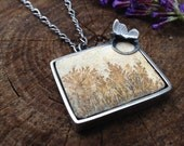 Dendritic Limestone Sterling Silver Nature Inspired Necklace. Earthtoned Rectangular Matte Stone. Garden Jewelry. Butterfly Necklace.