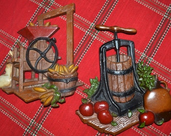 Metal Harvest Homco Cider Press and Grain Mill Wall Art Plaque Set of 2 - WA22