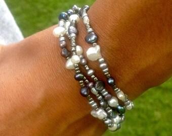 Bright Silver Grey White Freshwater Pearl Wrap Bracelet,Sterling Lotus Charm,Metallic Beads,Double Strand,Freshwater Pearls,Wrap Bracelet