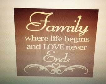 Family where life begins and Life never ends