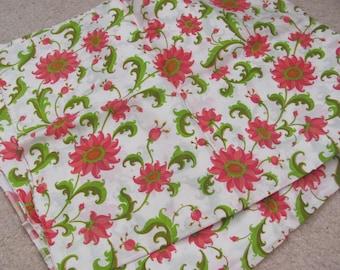 "Fabric White Pink Green Floral Dupioni Silk Fabric Yardage - 40"" x 180"" Total - Unused Antique"