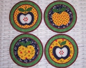 SALE Appliqued Country Patchwork Apple Embroidered Coasters