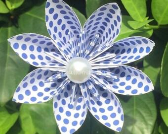 Large Blue Polka Dot Paper Flower with Stem // Origami Flower/Kusudama Flower Bouquet/ Baby Shower/ Nursery/ Centerpiece