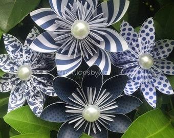 4 Navy Paper Flowers with Stems // Origami Flower/Kusudama Flower Bouquet/ Flower Arrangement/ Baby Shower/ Nursery/ Centerpiece