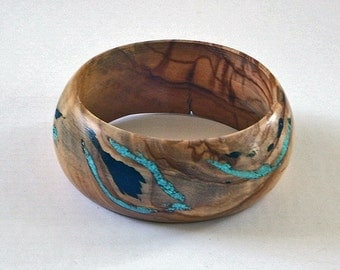 Wood Bangle/Bracelet with Black Jet and Blue Turquoise