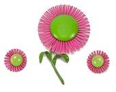 Pink Flower Brooch Clip on Earrings Lime Green Pin 1970s Enamel Metal