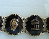 Eloxal Aluminum Bracelet, Roman Theme Figurals, Gold on Black, Germany 1950s