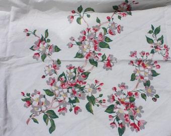 Vintage Pink Floral Tablecloth 1940's