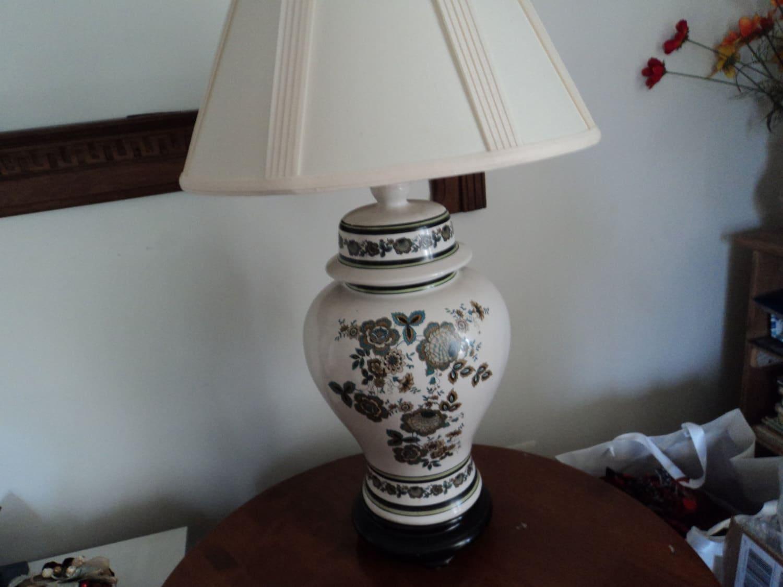 Vintage Ginger Jar Table Lamp White Ceramic Table Lamp White