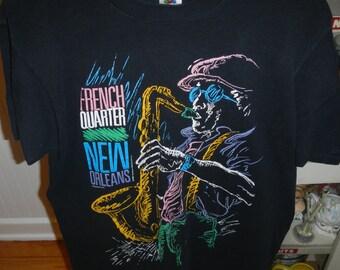 Vintage 1990 French Quarter New Orleans NOLA Jazz Shirt L