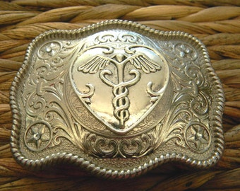 Doctor Medical Belt Buckle, Veterinarian Gift, Nursing School, Physician RN Graduation, Physical Therapy, EMT, Caduceus, College, Surgeon