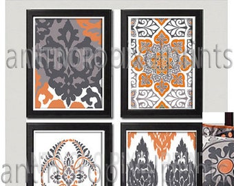 Burnt Orange Greys Ikat Digital inspired Wall Art Prints Collection -Set of 4 - 8x10 Prints (UNFRAMED)