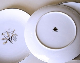 SALE Five Meito China Dinner Plates Lily of The Valley, fine Asian china, platinum rims made in Japan plates back stamped, replacement china