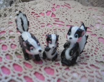 Skunks,  Bone China Family of Skunks, Figurine, Skunk, Skunk Figurine, Collectible Skunks, Home Decor, Vintage Home Decor,  :)S