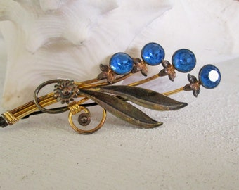 Van Dell Floral Bouquet Brooch Vintage Blue Rhinestone Jewelry, Sterling Silver & 12K GF