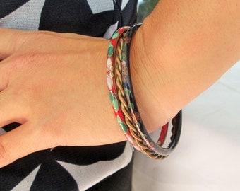 Cloisonne Bangle Bracelets,Collection of Boho Bangles and Copper/Brass, Gypsy Girl, Set of 3
