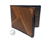 Mens Leather Tri- fold Wallet, Thin Leather Wallet, Laser Engraved Design, Free Monogramming, Personalization