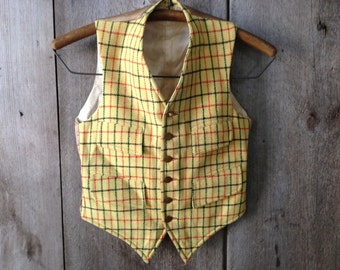 1928 Boys Wool Waistcoat Vest, England, Master of The Devon and Somerset Staghounds Sons, Rare Handmade Wool Vest