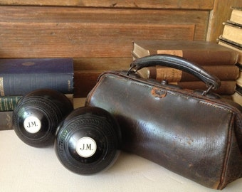 English Lawn Balls in Leather Carry Case, Bocce, Bowls