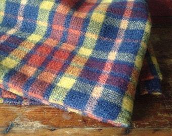 Plaid Laine Wool Blanket, Stadium Cabin Travel Picnic Blanket, Rust and Navy Blue