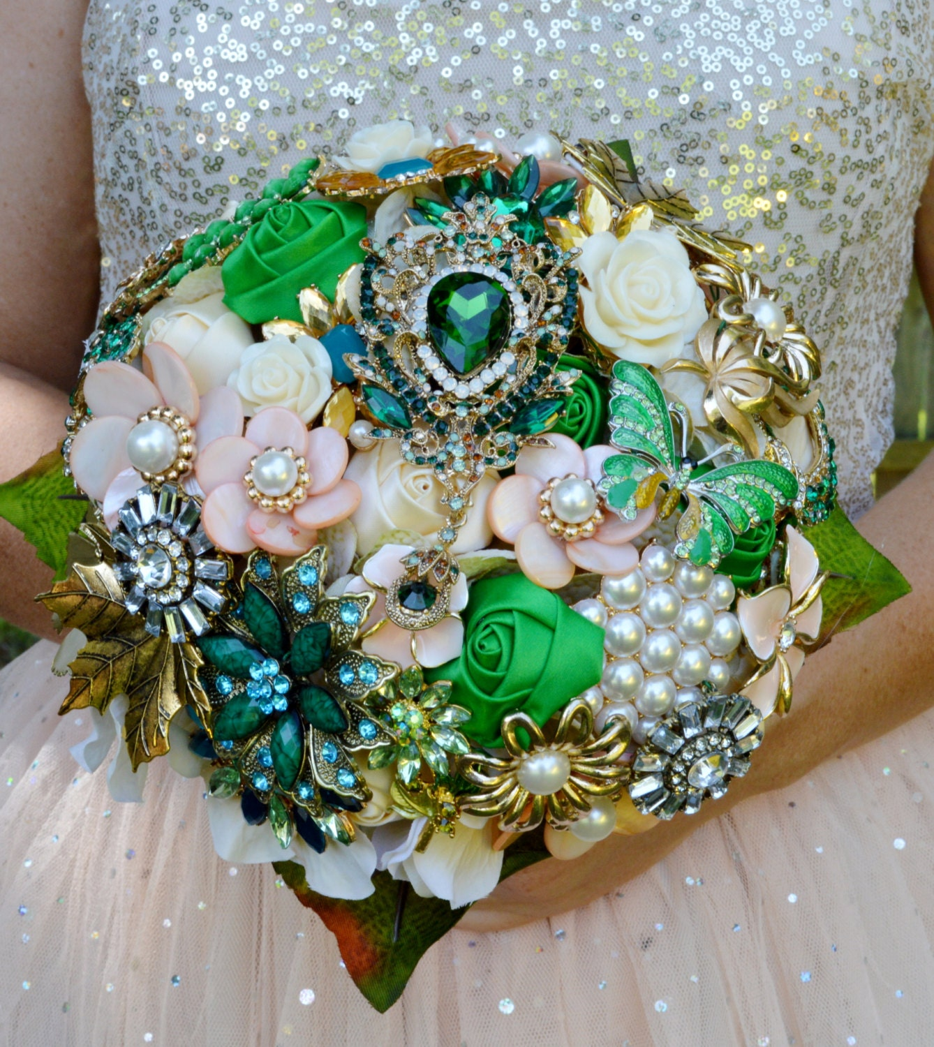 Wedding Flowers Bridal Bouquet Prices: SALE! FULL PRICE Ready To Ship 2 Bouquets Bridal Brooch