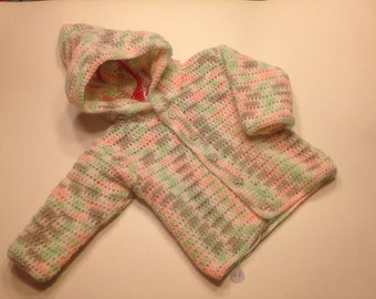 crochet multicolored hoodie, size 12 month (CL)
