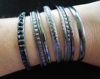 Vintage Bracelets Bundle, Lot of 10, Dark Metal Color, Different Designs, Excellent Condition