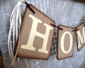 "HOME "" Chipboard Garland - Sign banner - Home decoration - Rustic/ Country - Ivory and Kraft color - Vintage style"