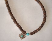 Long Natural Beachy Hippie Coconut Sterling Silver Turquoise Surfer Necklace