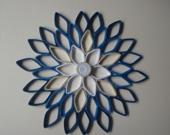 Navy Blue Wall Decor gray blue orange wall art paper dahlia wall decor blue gray