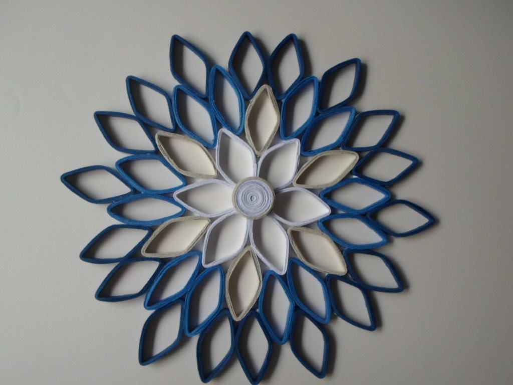 Navy home decor paper dahlia wall hanging white navy blue for White wall decor