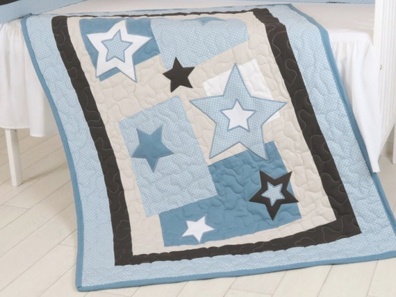 Star Baby Blanket, Blue Brown Quilt Blanket, Star Crib Bedding