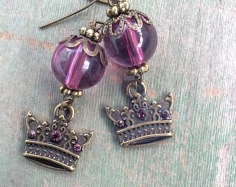 Royal Crown Earrings/Dangle/Edwardian/Victorian
